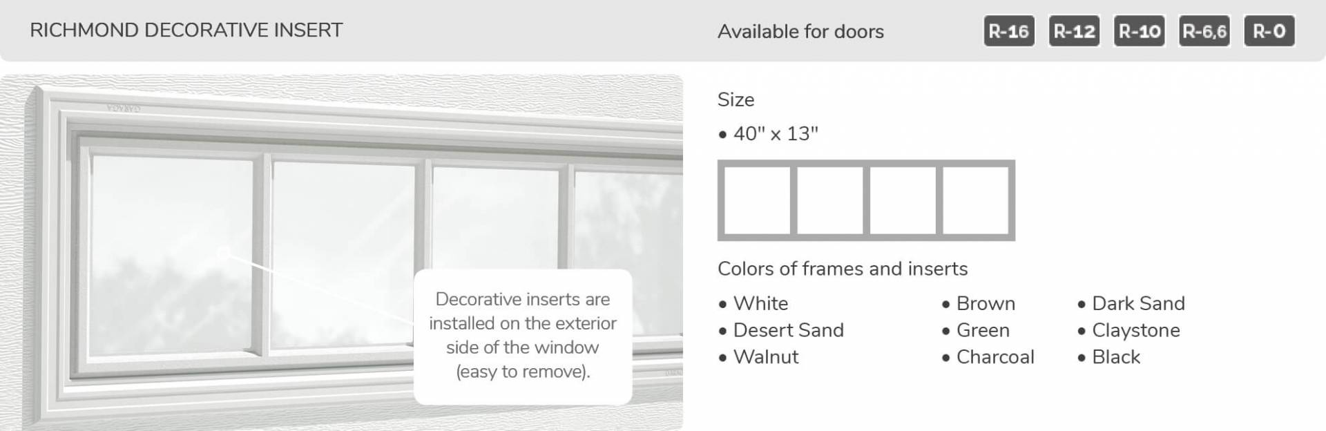 Richmond Decorative Insert, 40' x 13', available for doors R-16, R-12, R-10, R-6,6 and R-0